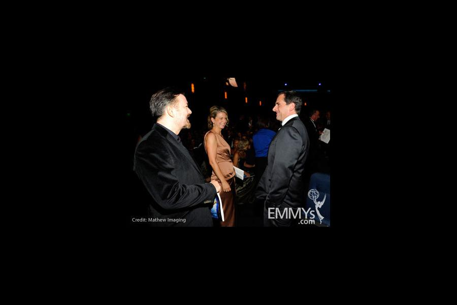 Actor Ricky Gervais, producer Jane Fallon and actor Steve Carell attend the 62nd Annual Primetime Emmy Awards held at Nokia Thea