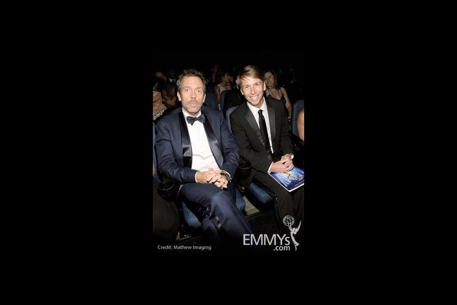 Actors Hugh Laurie and Jack McBrayer attend the 62nd Annual Primetime Emmy Awards held at Nokia Theatre