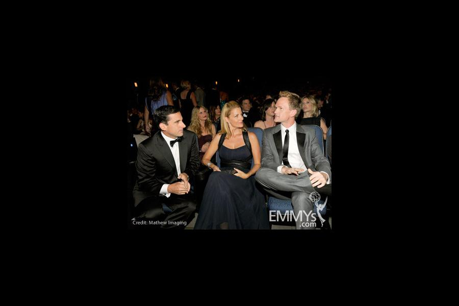 Actors Steve Carell, wife Nancy and actor Neil Patrick Harris attend the 62nd Annual Primetime Emmy Awards held at Nokia Theatre