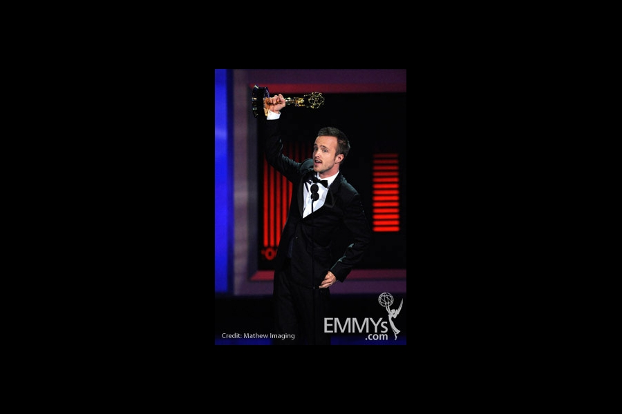 Actor Aaron Paul accepts his award onstage at the 62nd Annual Primetime Emmy Awards held at the Nokia Theatre