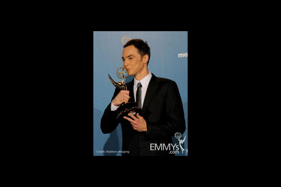 Jim Parsons poses in the press room at the 62nd Annual Primetime Emmy Awards held at the Nokia Theatre