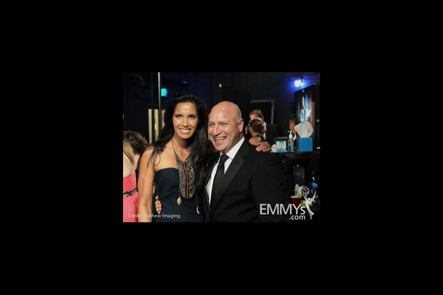 Padma Lakshmi and Tom Colicchio at the 62nd Annual Primetime Emmy Awards held at Nokia Theatre