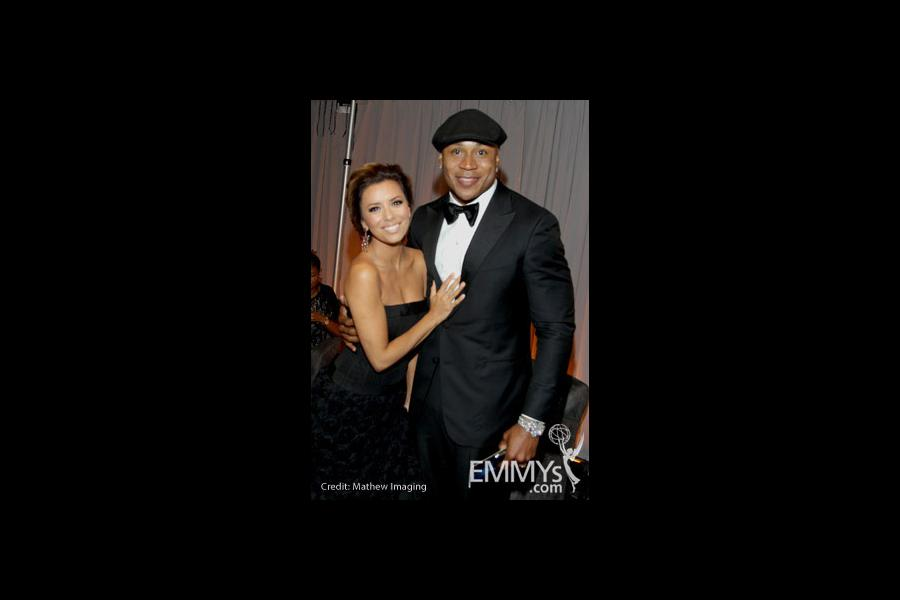 Eva Longoria Parker and LL Cool J  in the Green Room during the 62nd Annual Primetime Emmy Awards held at Nokia Theatre