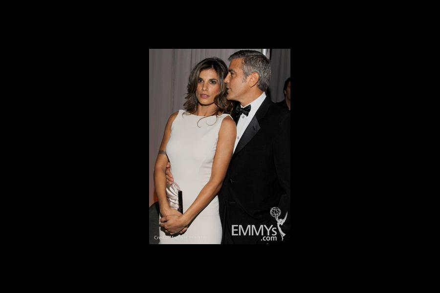Elisabetta Canalis and George Clooney in the Green Room during the 62nd Annual Primetime Emmy Awards held at Nokia Theatre