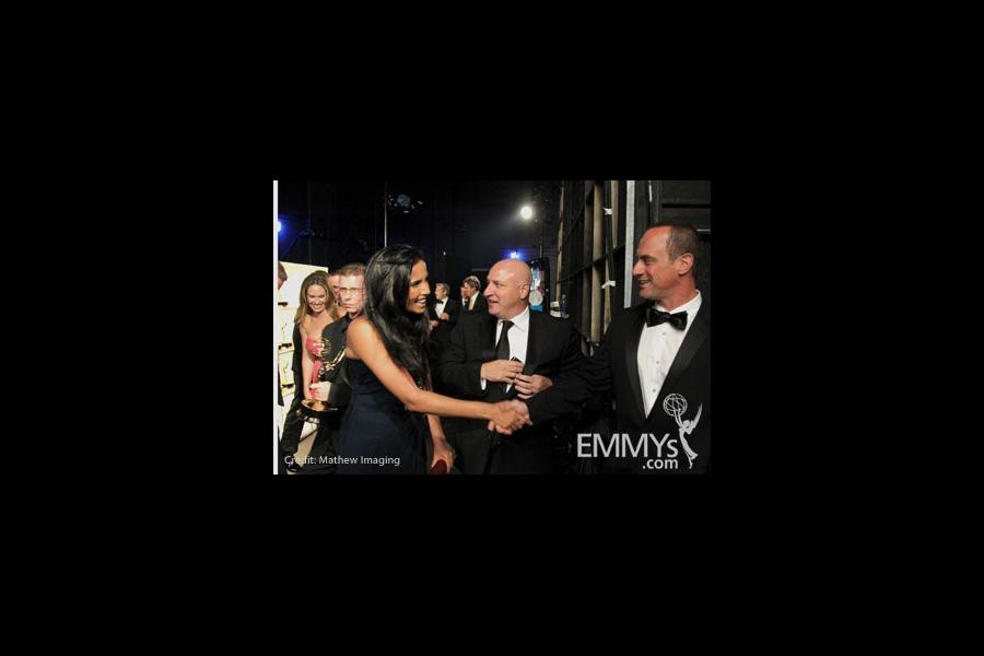 (L-R) Padma Lakshmi, Tom Colicchio and Christopher Meloni at the 62nd Annual Primetime Emmy Awards held at Nokia Theatre