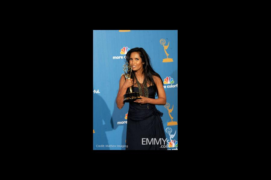 Padma Lakshmi poses in the press room at the 62nd Annual Primetime Emmy Awards held at the JW Marriott Los Angeles