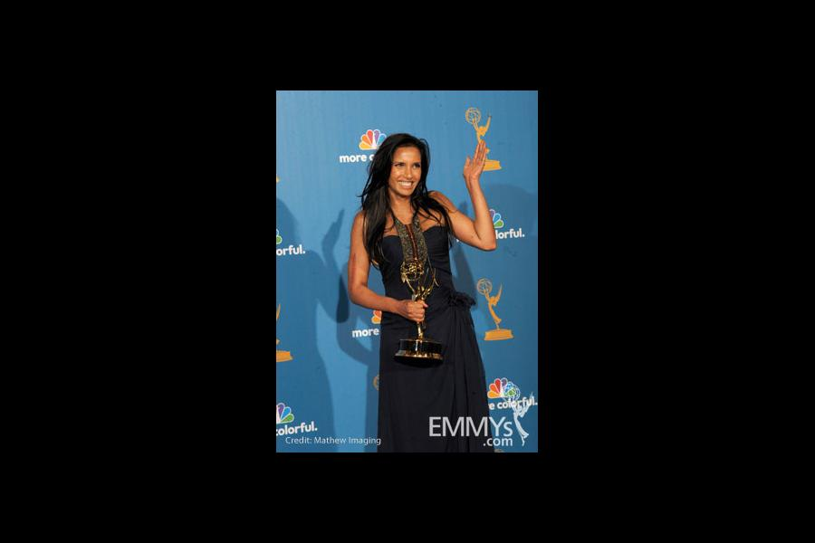 Padma Lakshmi poses in the press room at the 62nd Annual Primetime Emmy Awards held at the Nokia