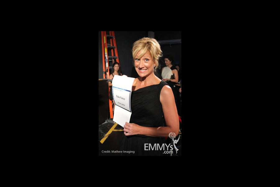 Edie Falco in the Green Room during the 62nd Annual Primetime Emmy Awards held at Nokia Theatre