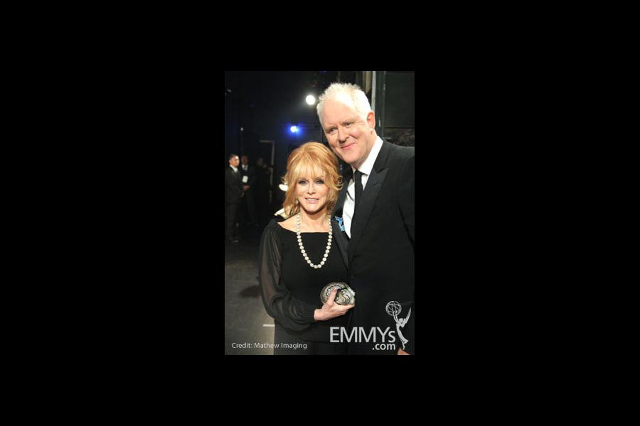 Ann-Margret and John Lithgow in the Green Room during the 62nd Annual Primetime Emmy Awards held at Nokia Theatre