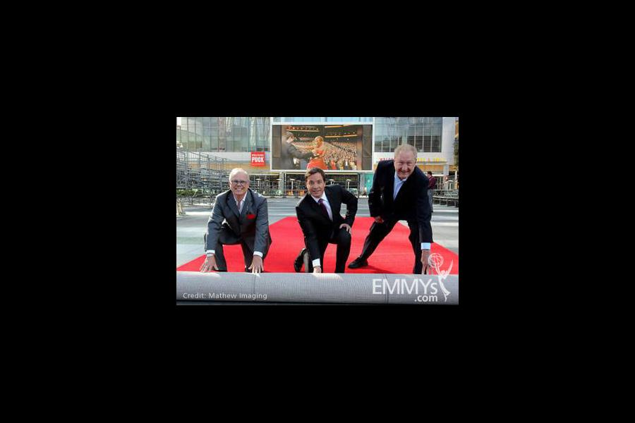 John Shaffner (L), Jimmy Fallon & producer Don Mischer at the red carpet rollout for the 62nd Primetime Emmy Awards