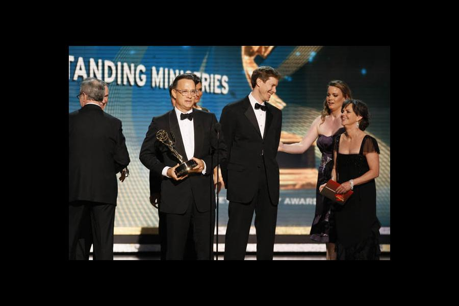Tom Hanks accepting for John Adams at the 60th Primetime Emmys