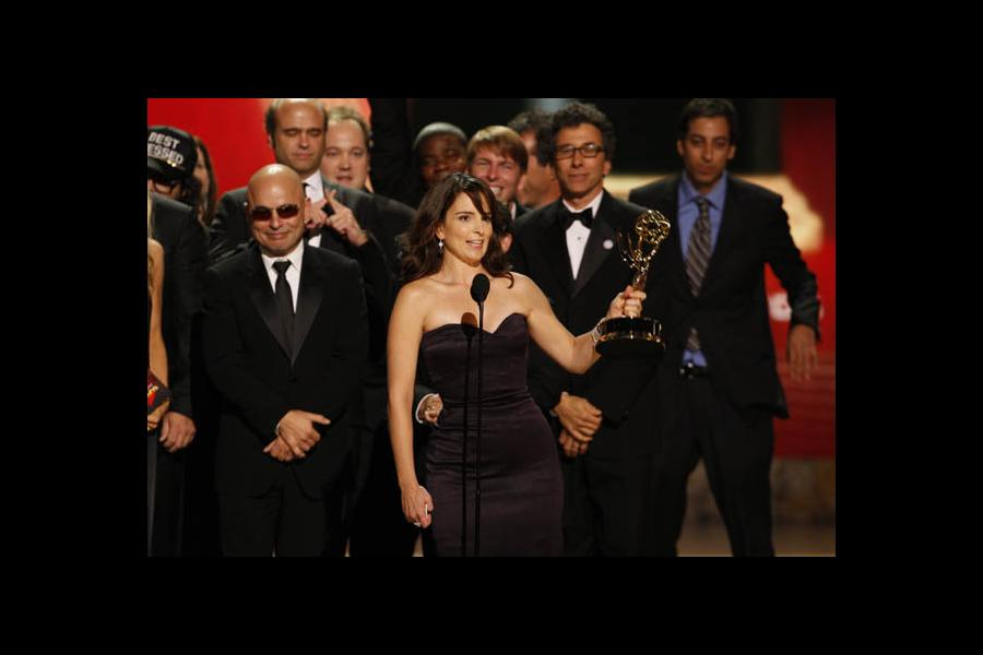 Tina Fey accepts the EMMY for 30 Rock at the 60th Primetime Emmys