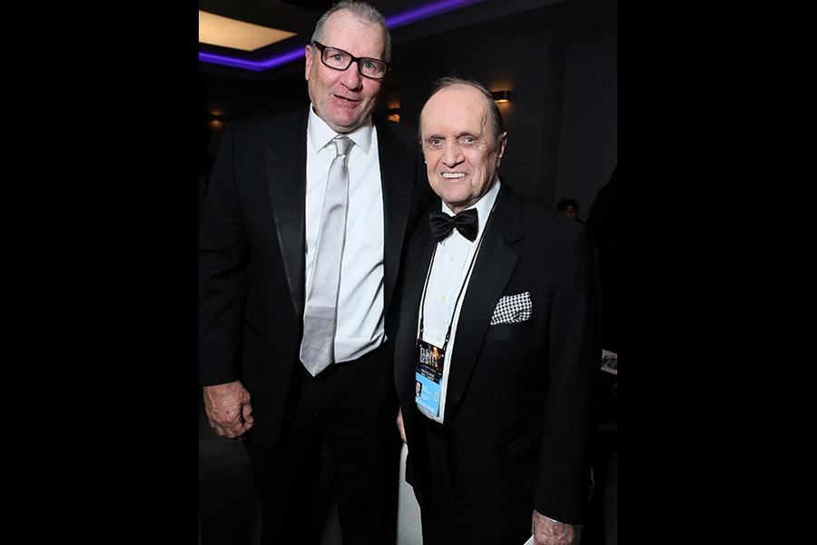 Ed O'Neill and Bob Newhart hang out in the Audi Green Room at the 65th Emmy Awards.