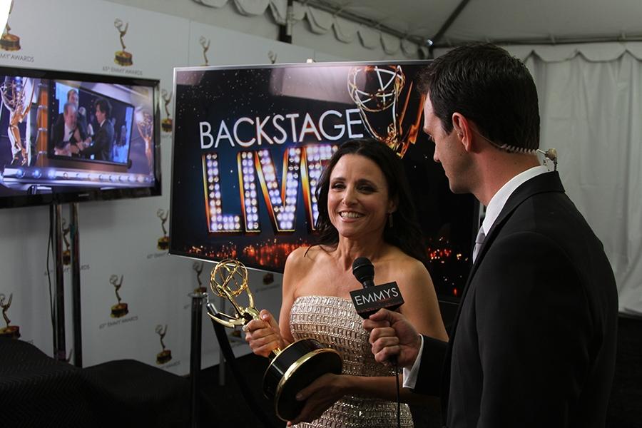 Julia Louis-Dreyfus speaks with Marc Istook at the Backstage Live Social Media Cam.