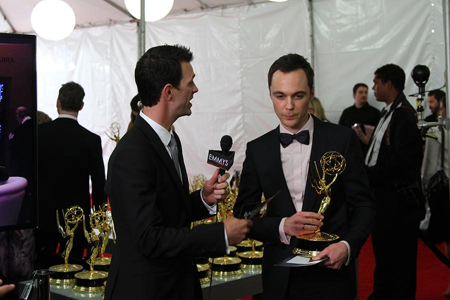 Jim Parsons speaks with Marc Istook at the Backstage Live Social Media Cam.