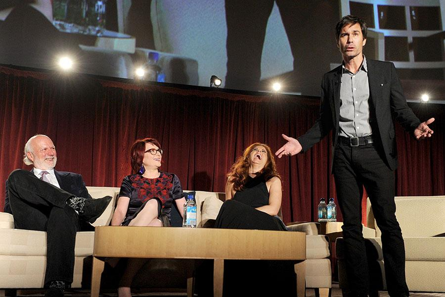 Eric McCormack. James Burrows, Megan Mullalley and Debra Messing