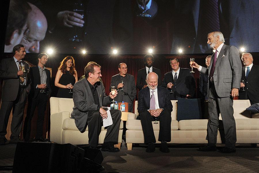 Jay Sandrich (R) toasts his protege and friend James Burrows