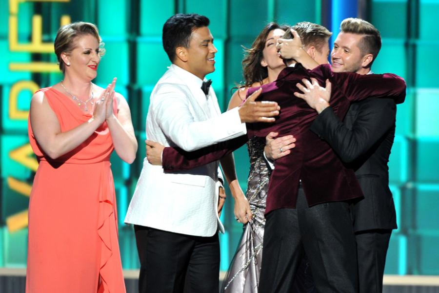 Mandy Moore, Napoleon Dumo, Tabitha Dumo, Travis Wall, and Derek Hough on stage at the 65th Emmys