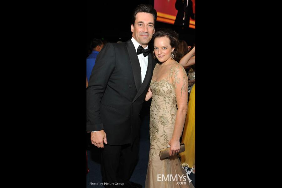 Jon Hamm, Elisabeth Moss during the Academy of Television Arts & Sciences 63rd Primetime Emmy Awards at Nokia Theatre L.A. Live