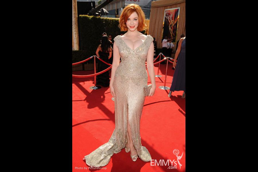 Christina Hendricks arrives at the Academy of Television Arts & Sciences 63rd Primetime Emmy Awards