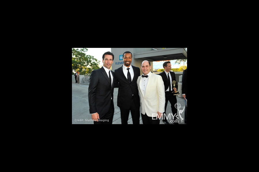 Actors Jon Hamm (L), Isaiah Mustafa and producer Matthew Weiner attend Governor's Ball