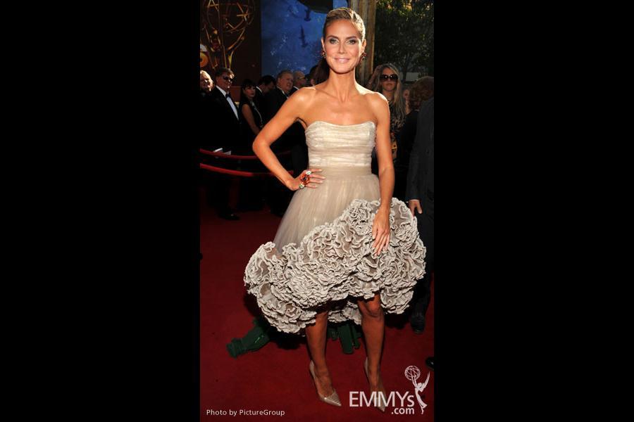 Heidi Klum arrives at the 63rd Primetime Emmy Awards at Nokia Theatre L.A. Live
