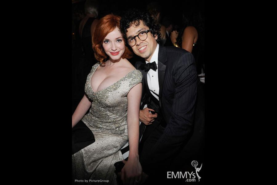 Christina Hendricks (L) and Geoffrey Arend attend the Governors Ball