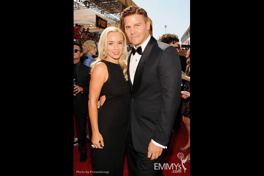 Jaime Bergman and David Boreanaz (R) arrive at the Academy of Television Arts & Sciences 63rd Primetime Emmy Awards