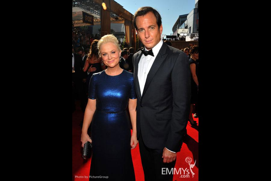 (L-R) Amy Poehler and Will Arnett arrive at the Academy of Television Arts & Sciences 63rd Primetime Emmy Awards