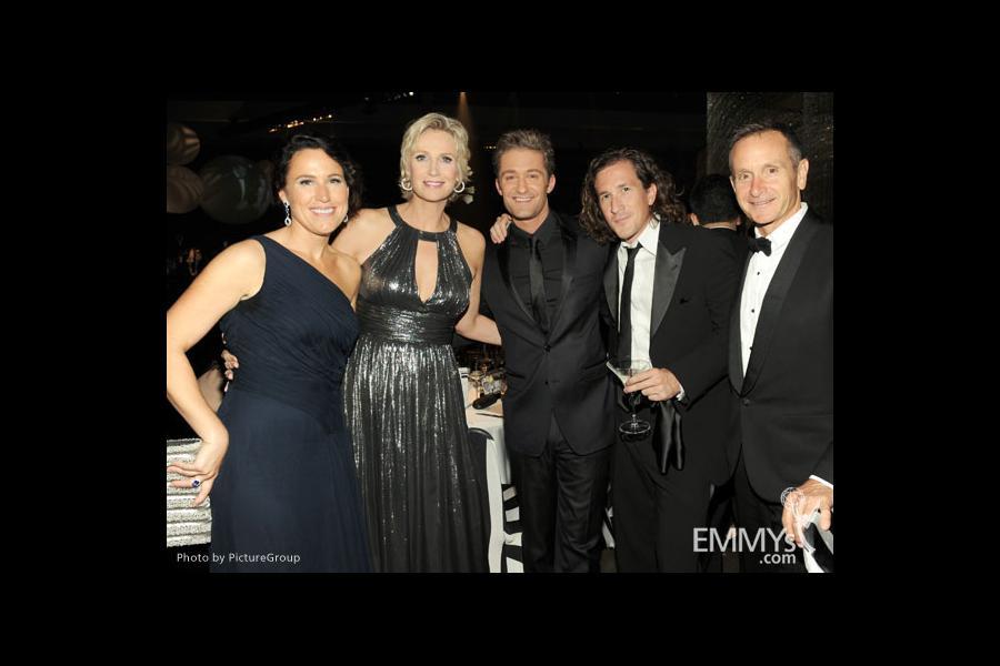 "(L-R) Lara Embry, Jane Lynch, Matthew Morrison and ""Glee"" Executive Producers Ian Brennan and Dante Di Loreto"