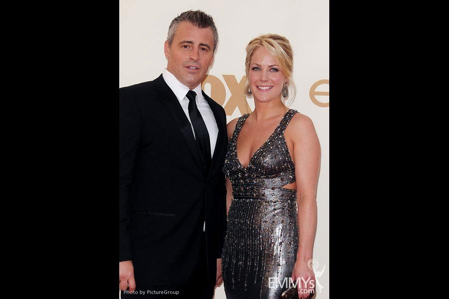 Matt LeBlanc (L) and Andrea Anders arrive at the Academy of Television Arts & Sciences 63rd Primetime Emmy Awards