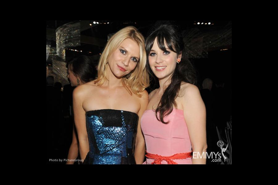 Claire Danes (L) and Zooey Deschanel attend the Governors Ball