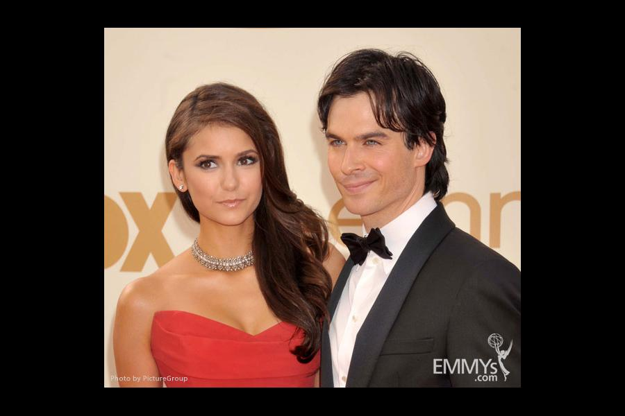 Nina Dobrev and Ian Somerhalder arrive at the Academy of Television Arts & Sciences 63rd Primetime Emmy Awards