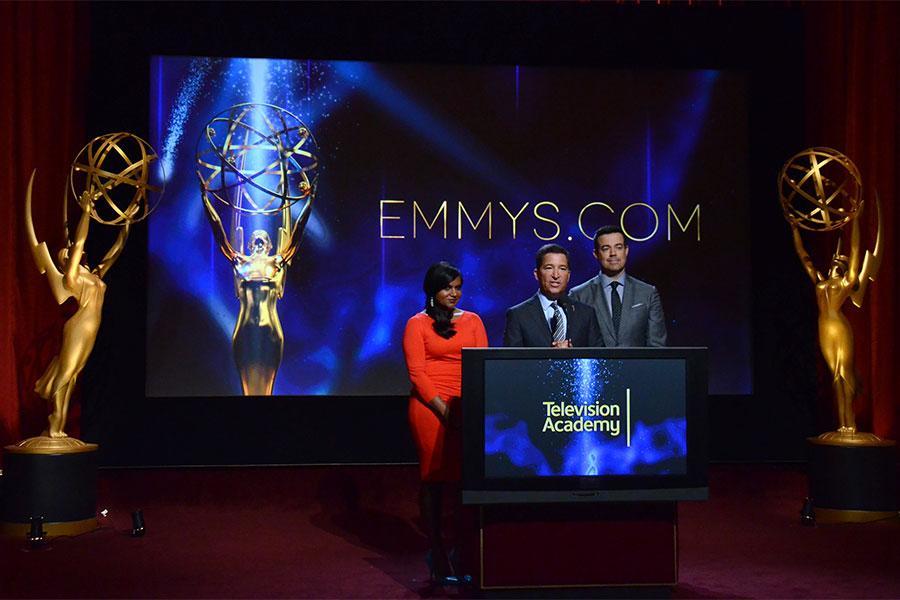 Mindy Kaling, Television Academy CEO Bruce Rosenblum, Carson Daly
