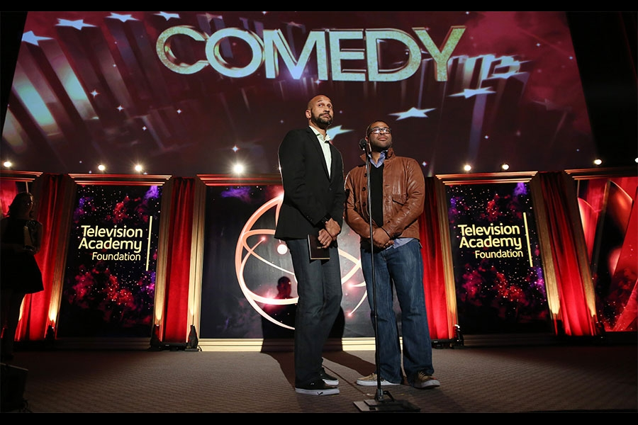 Keegan-Michael Key, left, and Jordan Peele present at the 35th College Television Awards
