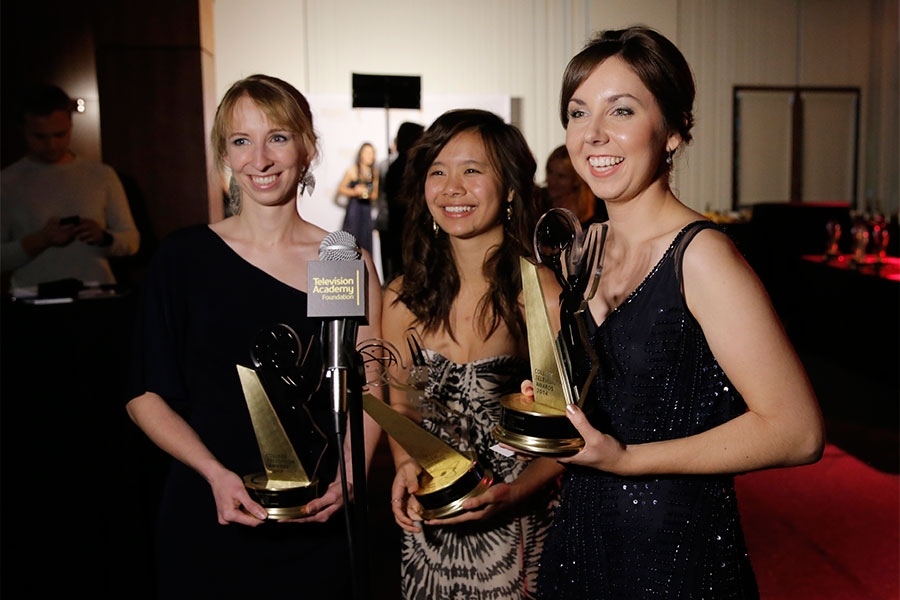 Award winners Esther Parobek, and from left, Huen Sin (Susan) Yung and Emily Buchanan at the Thank You Cam