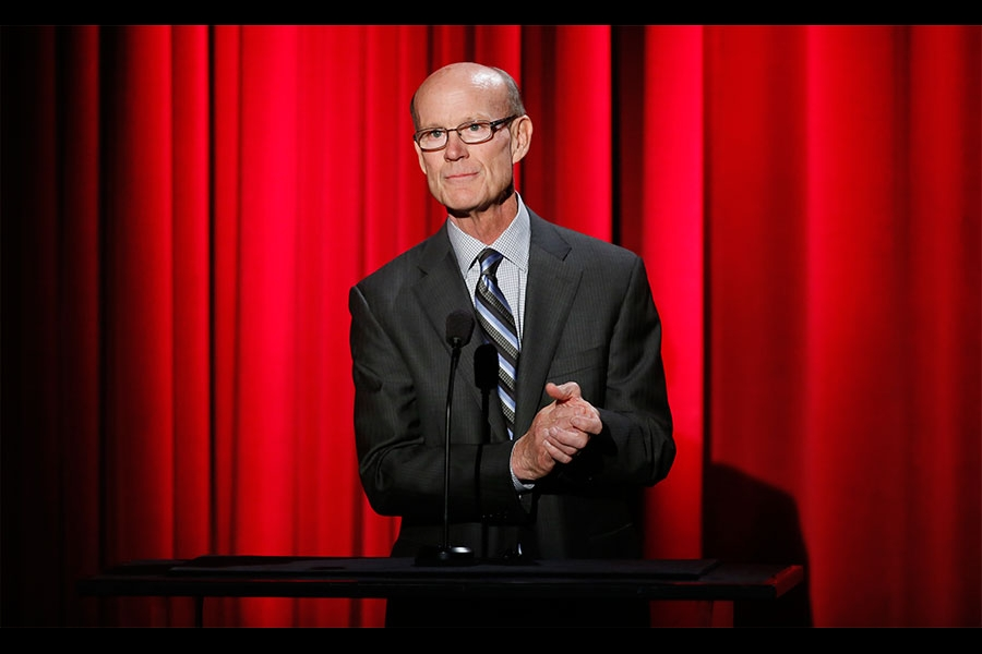 Television Academy Foundation Board Member Jerry Petry speaks onstage at the 35th College Television Awards
