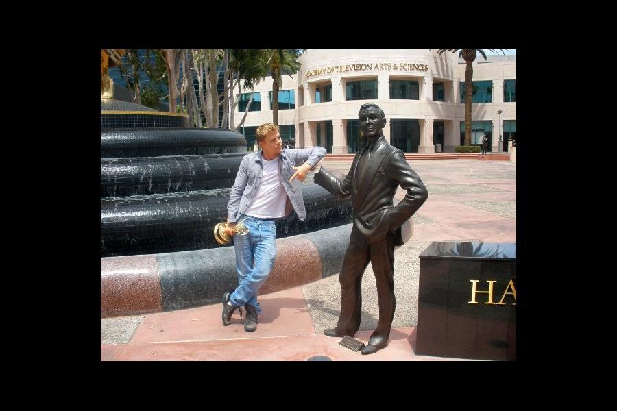 Derek Hough and Johnny Carson