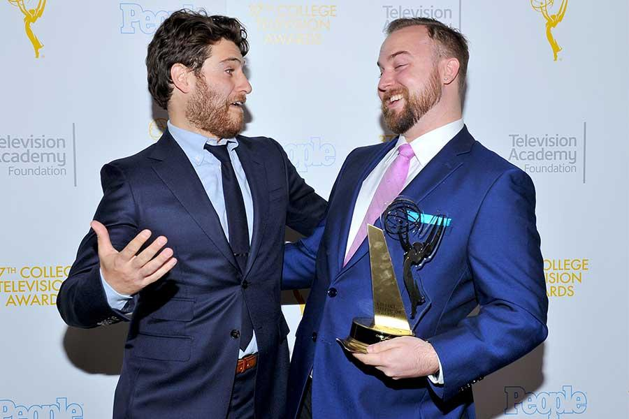 Adam Pally and Chase Chambers at the 37th College Television Awards at the Skirball Cultural Center on Wednesday, May 25, 2016, in Los Angeles.