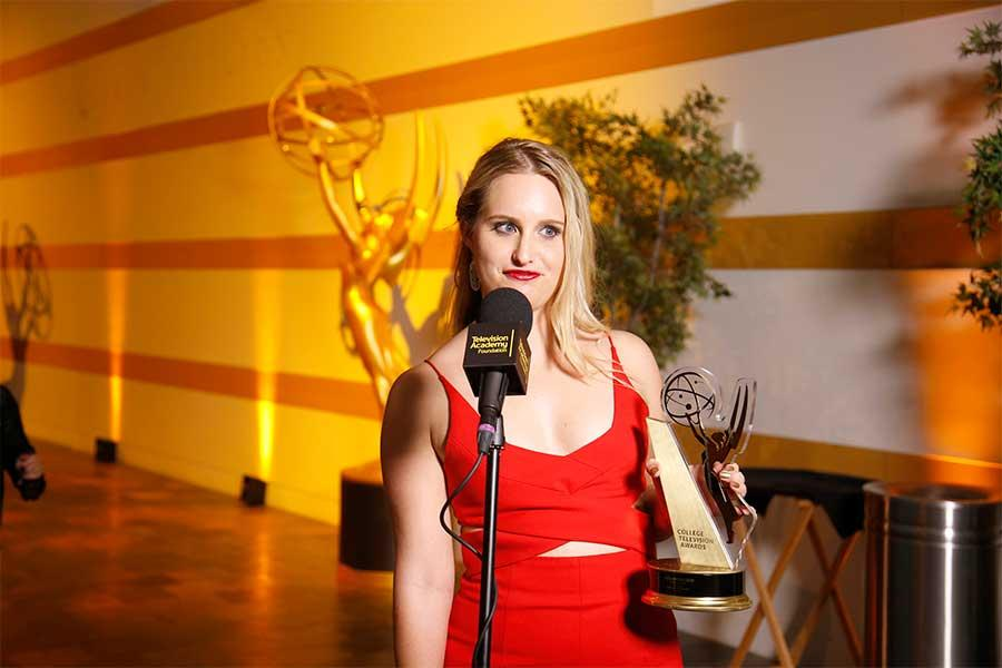Alexandra Dew at the Thank-You Cam at the 37th College Television Awards at the Skirball Cultural Center on Wednesday, May 25, 2016, in Los Angeles.