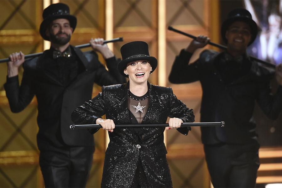 Rachel Bloom on stage at the 2017 Primetime Emmys.