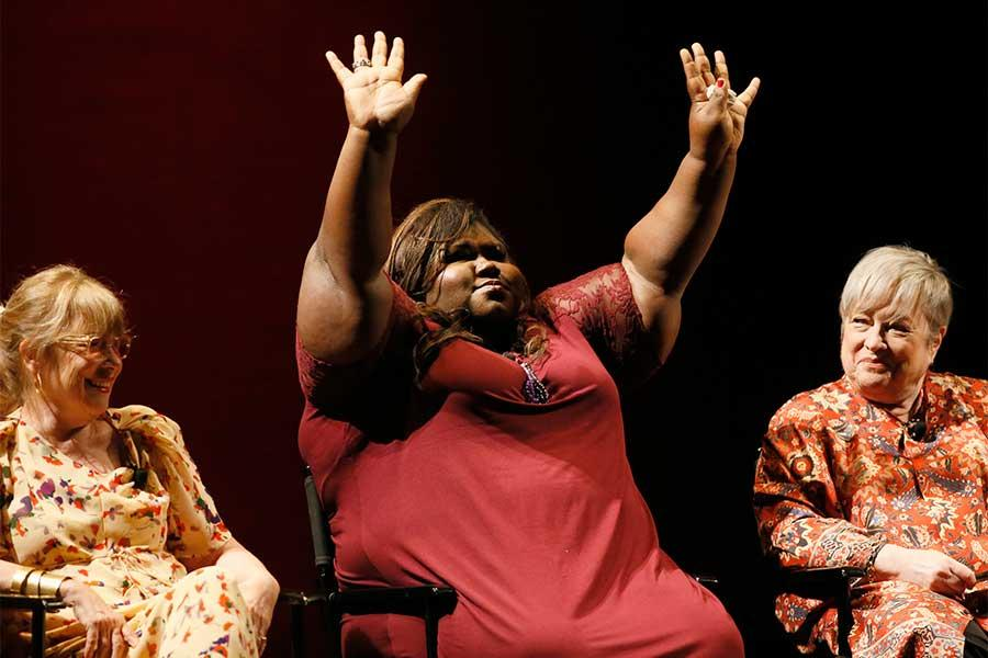 Jennifer Salt, Gabourey Sadibe and Kathy Bates onstage at An Evening with the Women of American Horror Story in Hollywood, California/