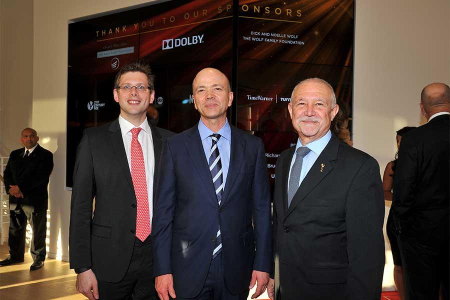John Couling and Kevin Yeaman of Dolby with Television Academy governor Steve Venezia at the Television Academy's 70th Anniversary Gala and Opening Celebration for its new Saban Media Center on June 2, 2016