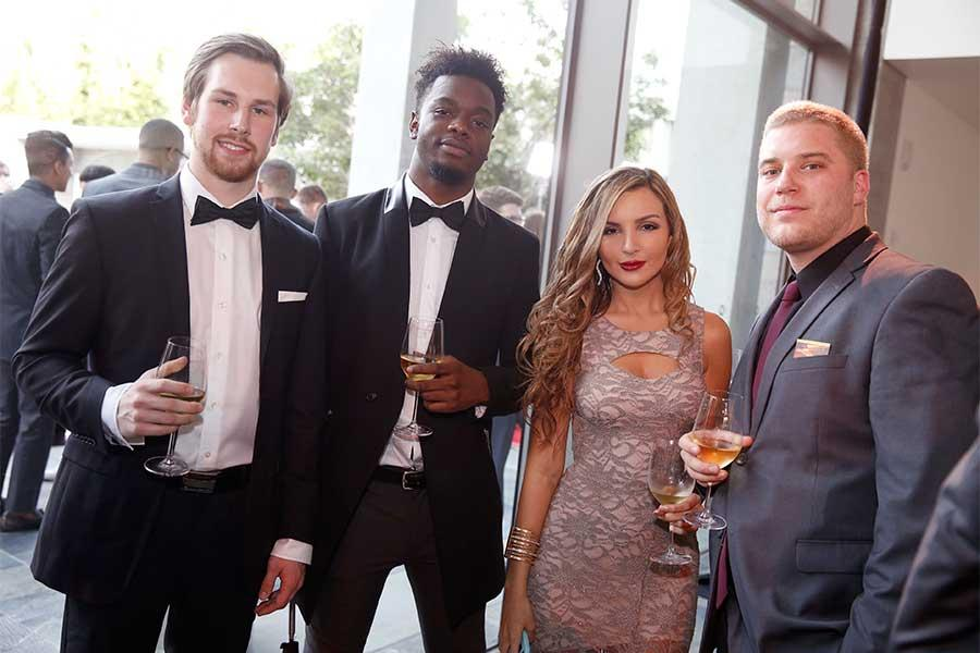 Julius Demenz, Christian Odenlyl, Alejandra Soto, and Anthony Kane at the 37th College Television Awards at the Skirball Cultural Center on Wednesday, May 25, 2016, in Los Angeles.