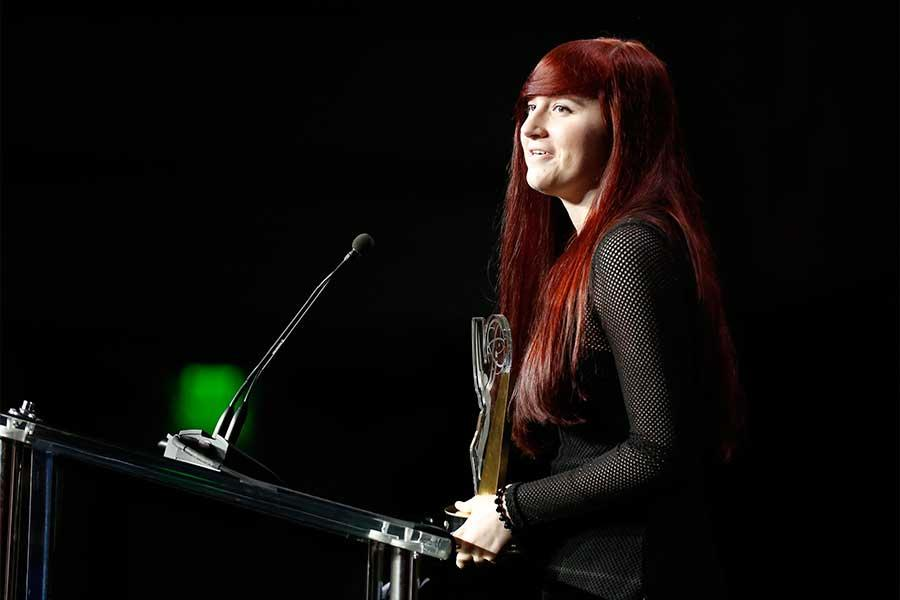 Kristina League accepts her award at the 37th College Television Awards at the Skirball Cultural Center on Wednesday, May 25, 2016, in Los Angeles.