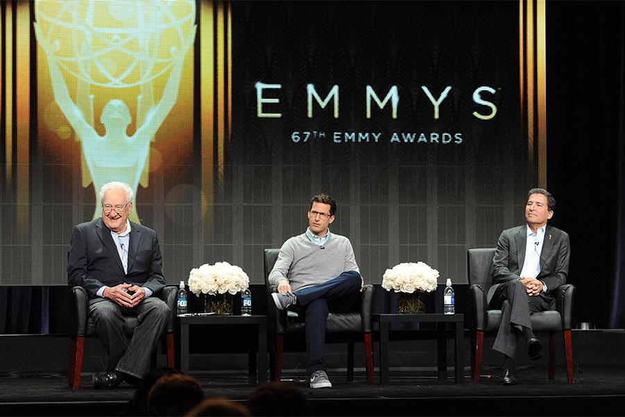 67th Primetime Emmy Awards executive producer Don Mischer, Emmy Awards show host Andy Samberg, and Television Academy chairman and CEO Bruce Rosenblum