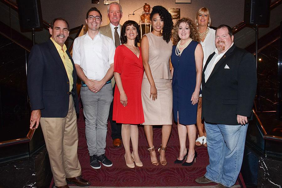 Governors Ball Committee members Edward Fassi, James Pearse, Russ Patrick and Geriann McIntosh; recording star Judith Hill; committee members Patricia Messina, Barbara Cassel and Scott Boyd.