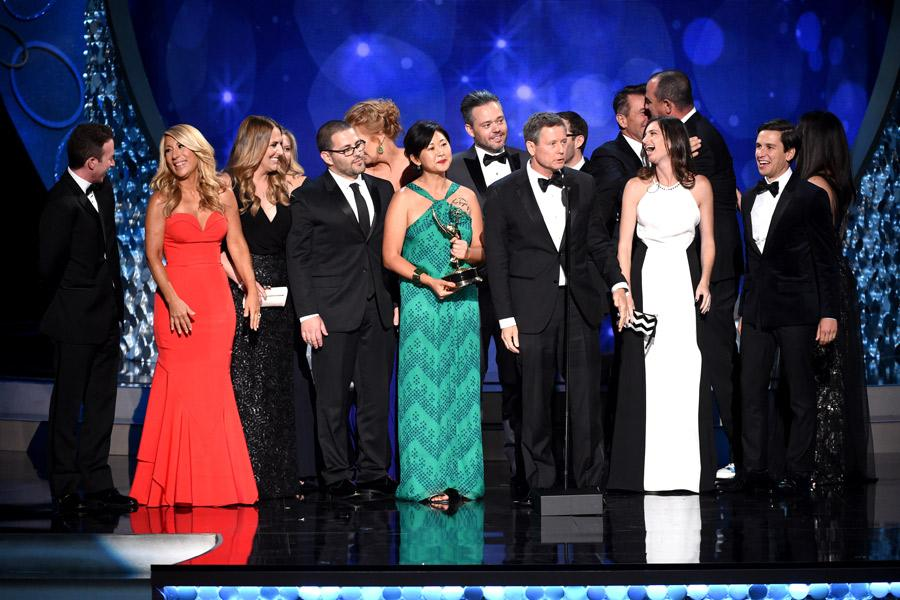 The producers from Shark Tank accepts their award at the 2016 Creative Arts Emmys.