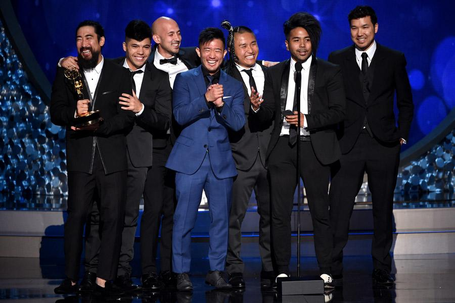 "Quest Crew accepts the award for outstanding choreography for ""America's Best Dance Crew"" during night two of the Television Academy's 2016 Creative Arts Emmys."