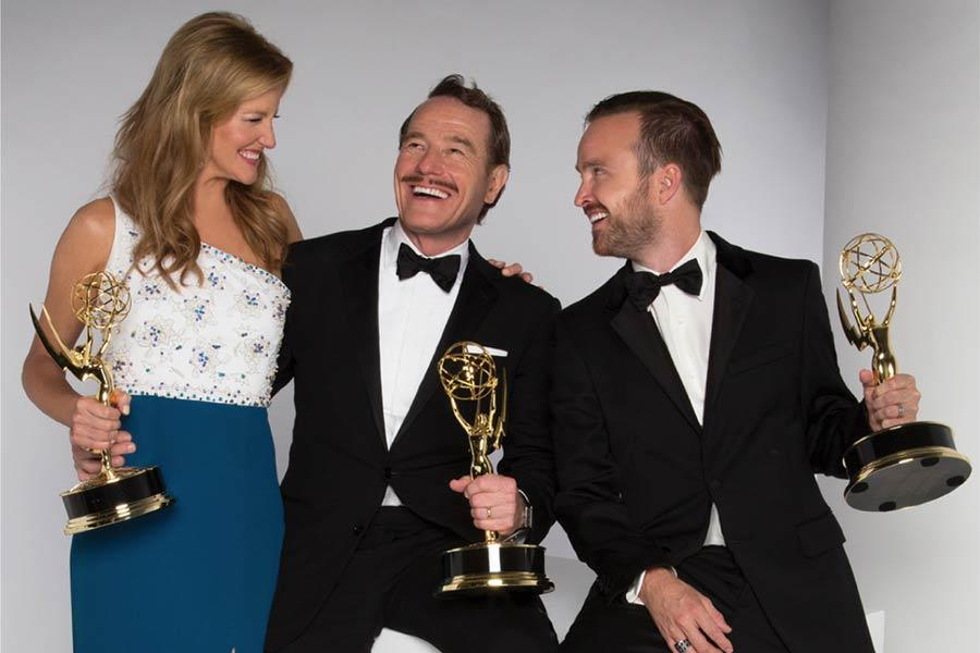 Anna Gunn, Bryan Cranston and Aaron Paul
